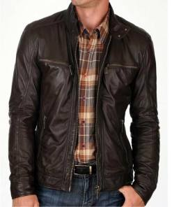 snap-tab-collar-dark-brown-leather-jacket