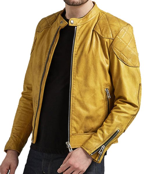 mens-cafe-racer-yellow-leather-jacket