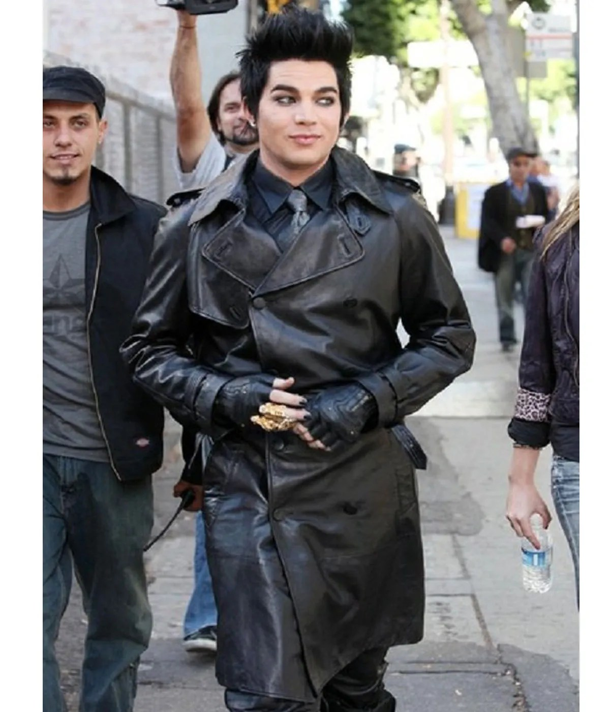 adam-lambert-black-double-breasted-leather-coat