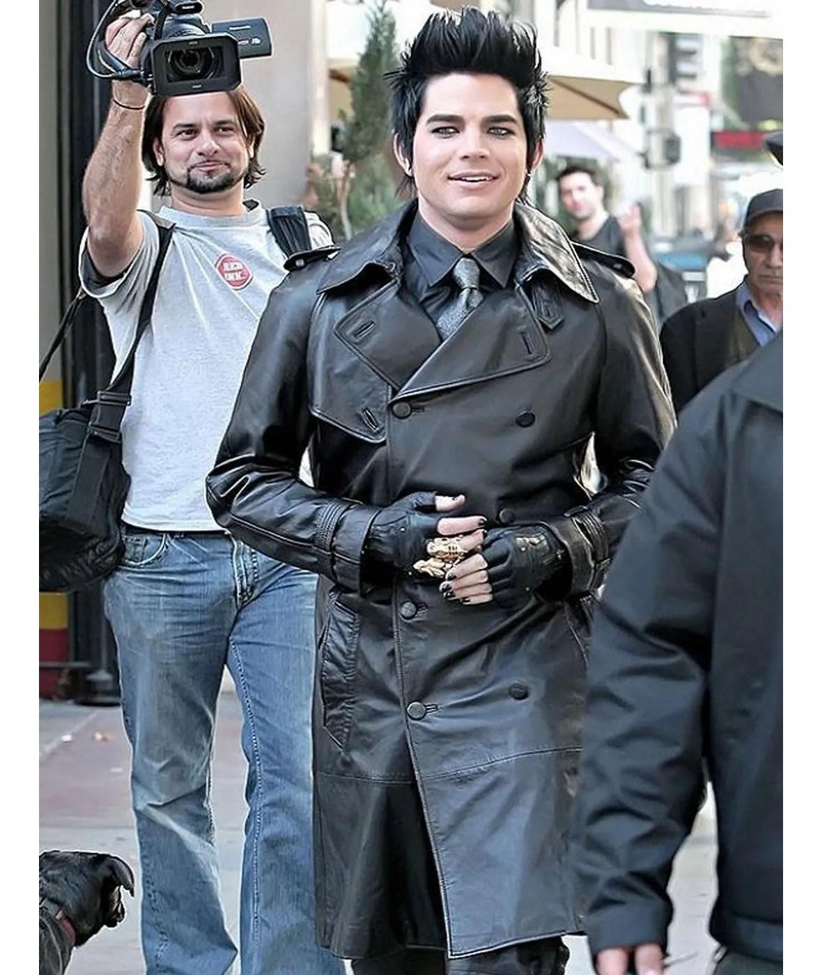 adam-lambert-black-double-breasted-trench-coat