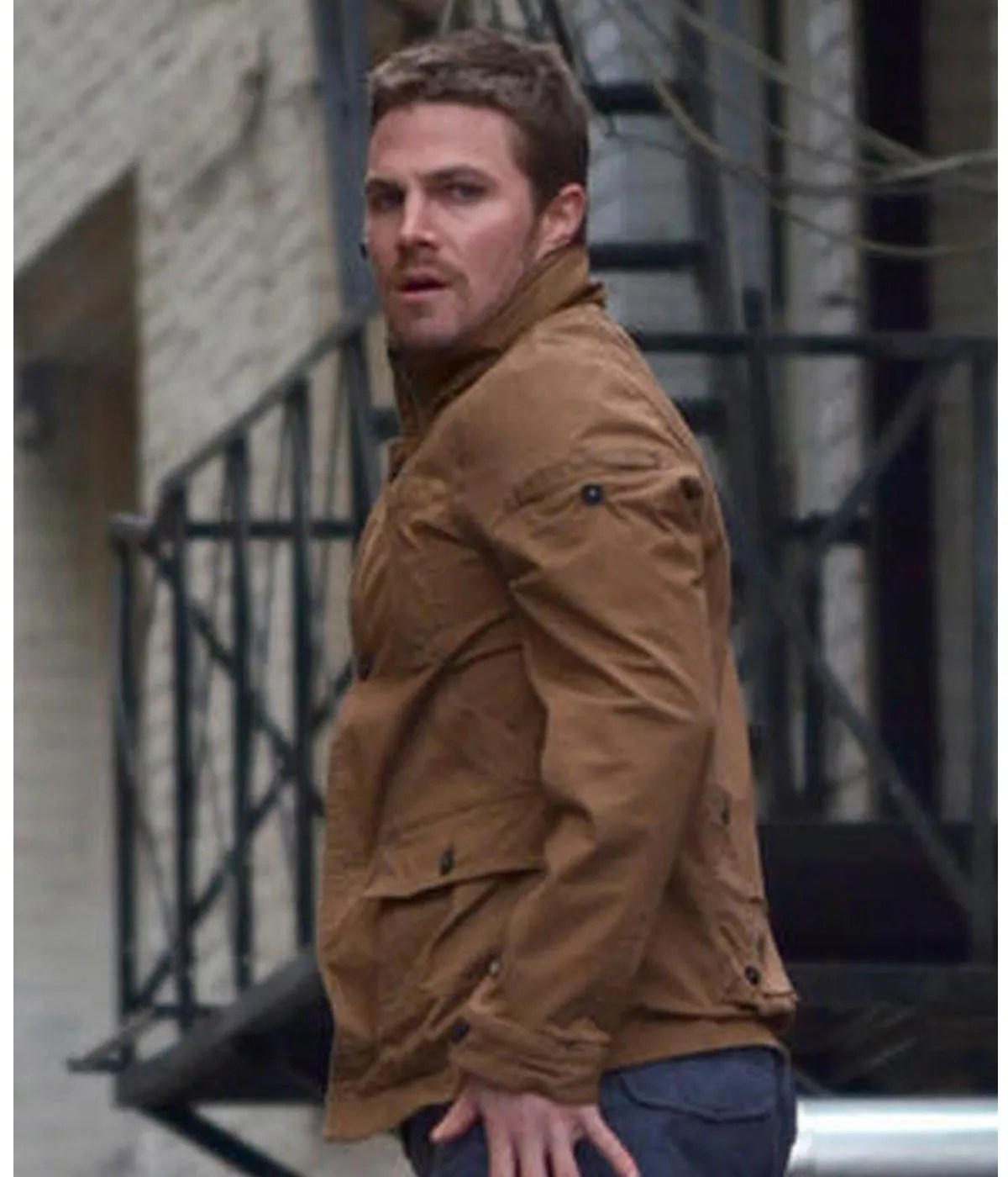 stephen-amell-arrow-oliver-queen-brown-cotton-jacket-