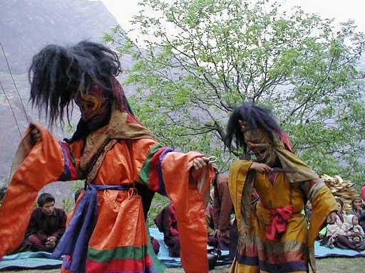 Masked Lama dance in Prok Nepal, Manaslu Trek