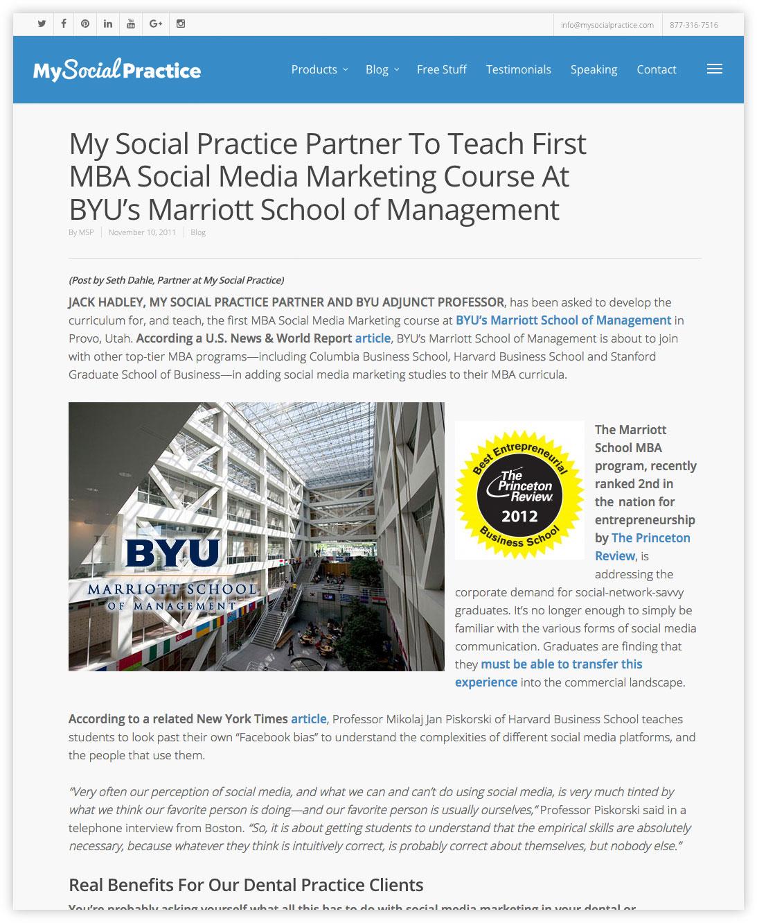 Jack Hadley MBA Social Media Professor