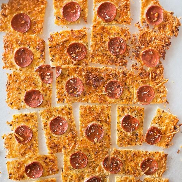 Crustless Frico Parmesan Peperoni Pizza