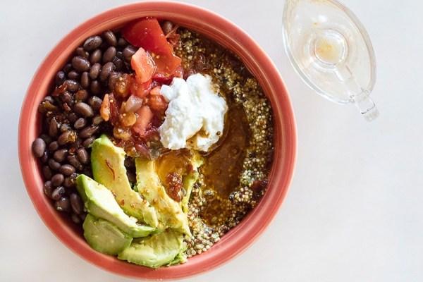 Quinoa Burrito BowlWith Chipotle Lime Vinaigrette