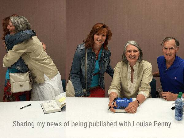 Hugs from author Louise Penny with author Jackie Trottmann