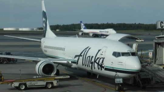 Our jet for the milk run to Wrangell.  Note the filled in windows at the front of the plane.  This was also a cargo plane.