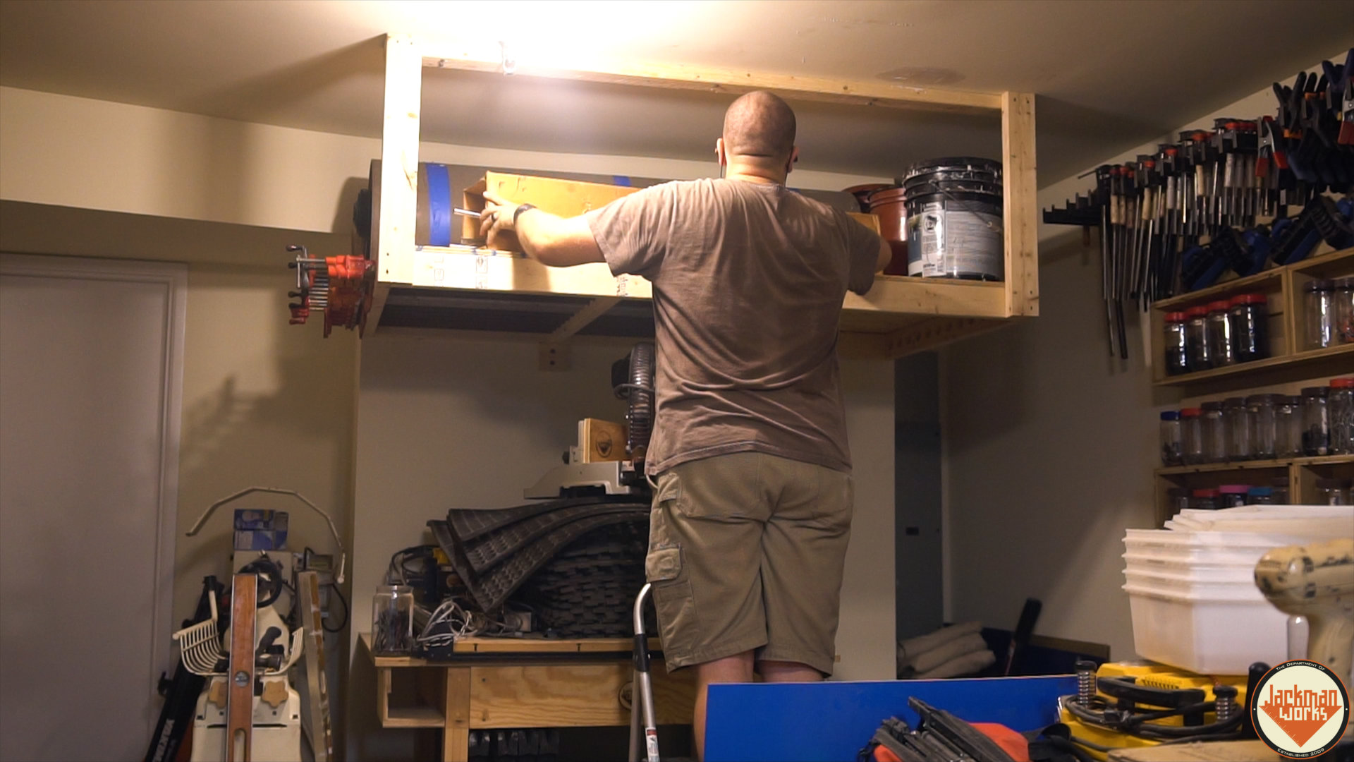 Floating garage storage loft and clamp rack 20 jackman works for Diy garage storage loft