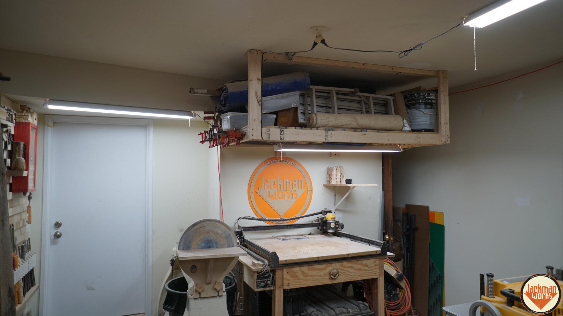 floating garage storage loft and clamp rack 25 - Jackman Works