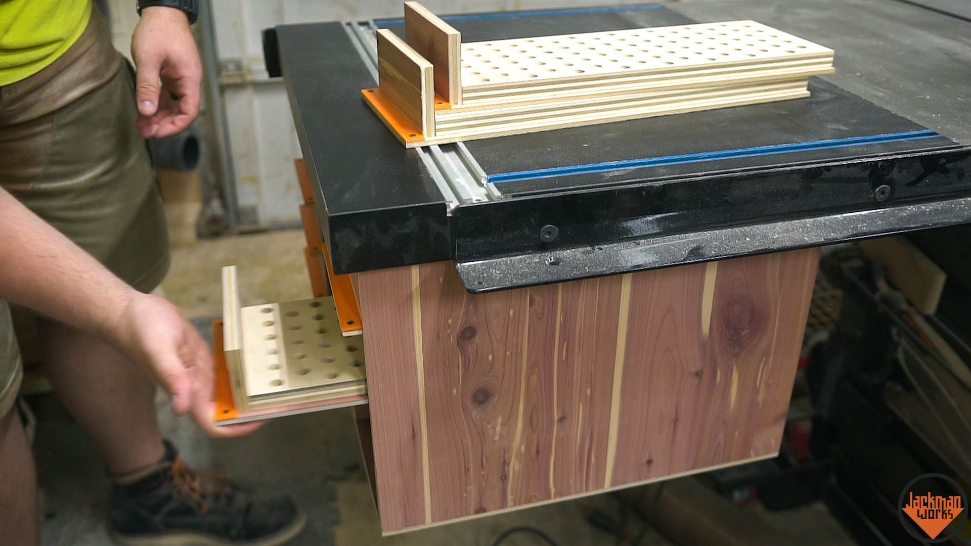 Router table storage cabinet 29 jackman works jackmanjackman worksfence systemrouter tablehow to build a router table woodworkingrouter liftshop storagestorageorganizationworkshop organization greentooth Gallery