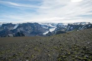 on the Eyjafjallajökull with view on the Myrdalsjökull glacier