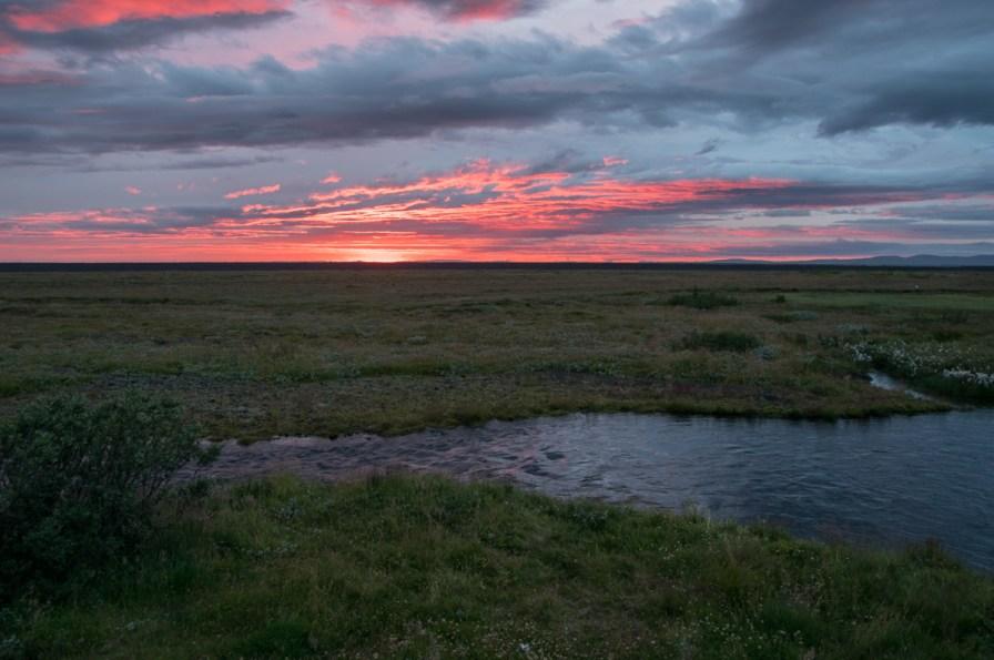 sunset at Skogar