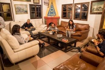 having dinner with Karolina, Hugo, Oli and Paola