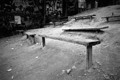 Benches at Navarinou Park (Infrared)