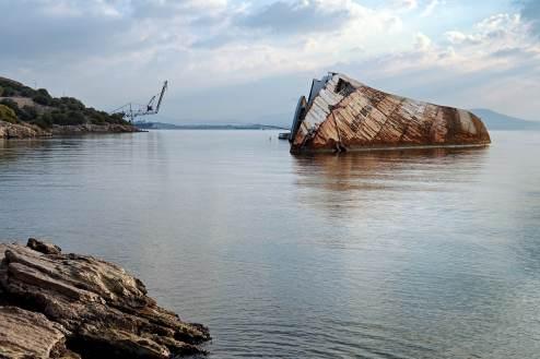 Shipwreck and Crane