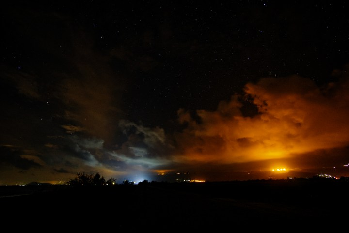 Light Pollution: Light reflected on clouds at night