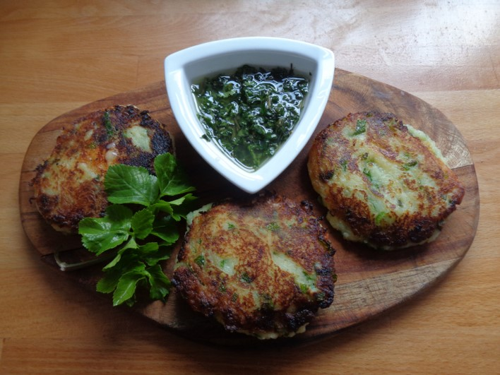 Alexanders & potato scone melts | wild food | foraging | Kent | London | south east