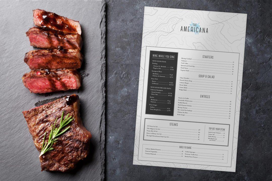 The Americana menu design 2