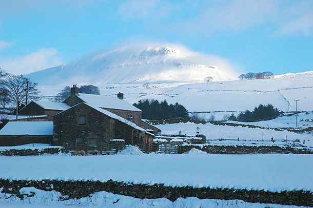 Snow-blown Penyghent in Ribblesdale