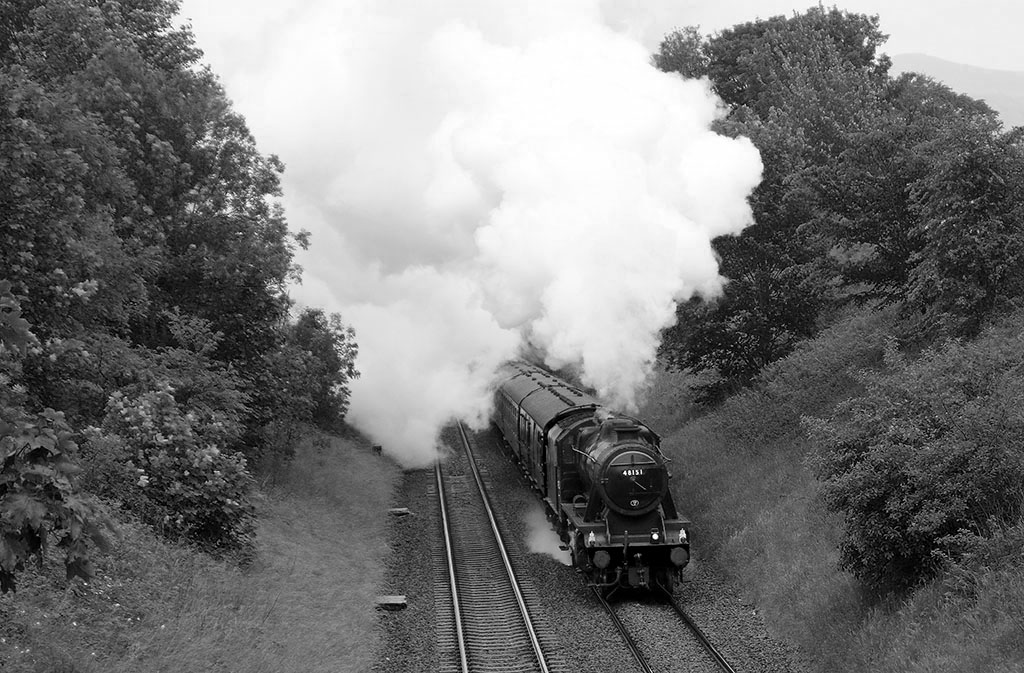 Steam train on the Settle-Carlisle line at Stainforth