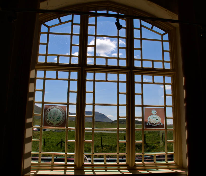 Ingleborough through Ribblehead station window