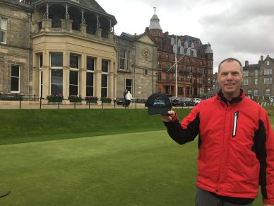 Mark at the R&A with Jackson Park hat