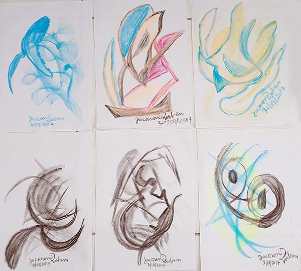 Desenhos de Jackson Rubem, produzidos automaticamente