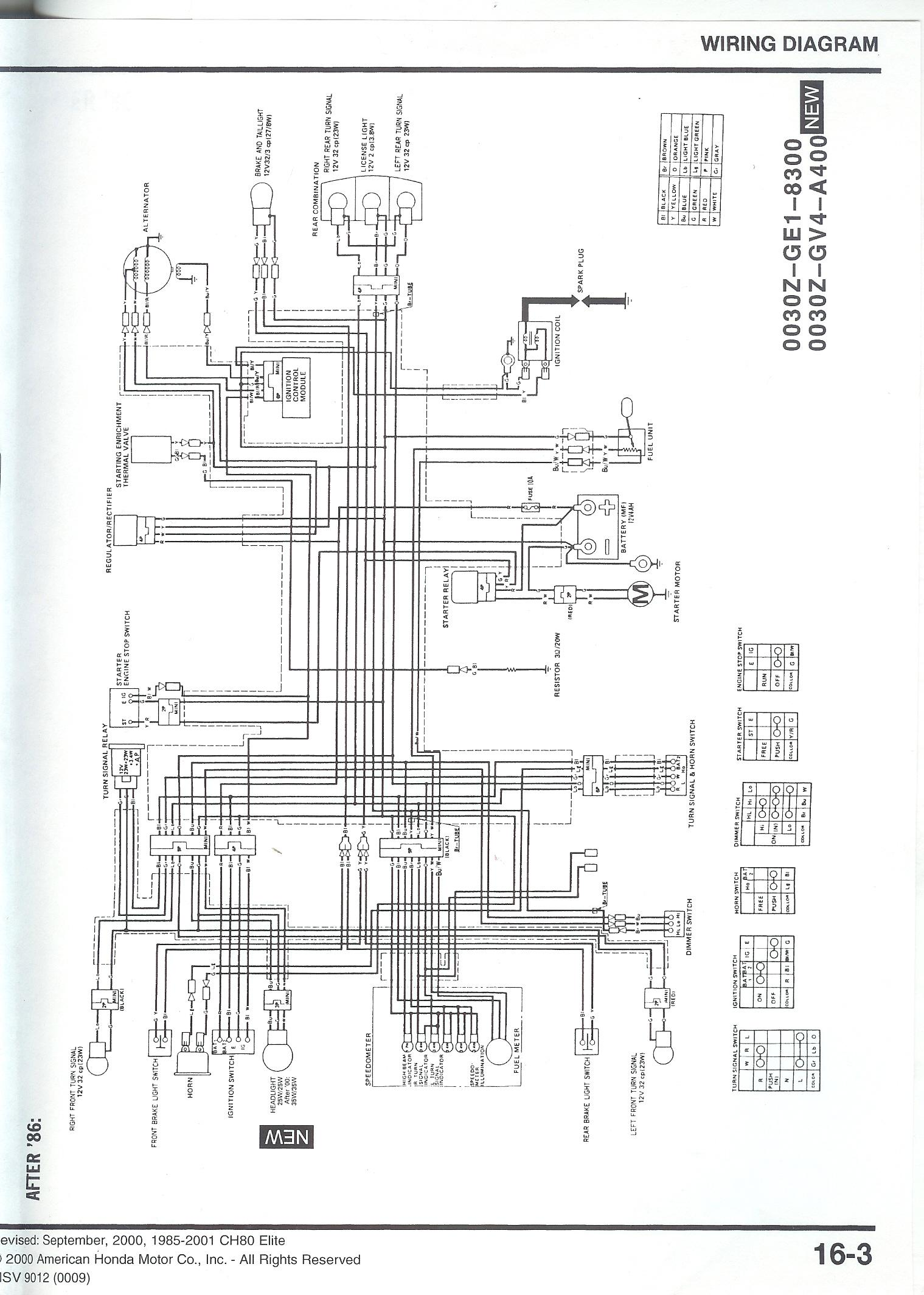Honda Elite Wiring Diagram Wiring Diagram