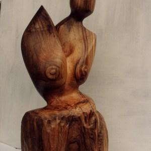 Mére et fille - 40 cm - Noyer
