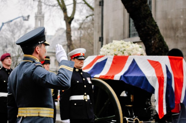 Thatcher's funeral / Temple, London, UK