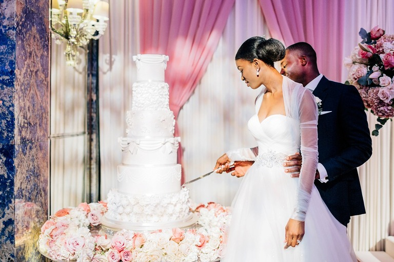 Cutting of the Wedding Cake at the Dorchester Hotel in London