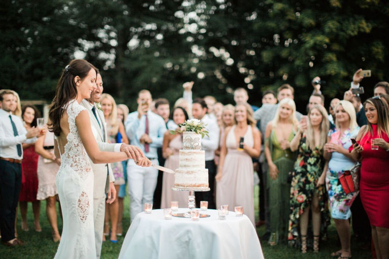 Cutting of the Wedding Cake at Chateau la Durantie in France