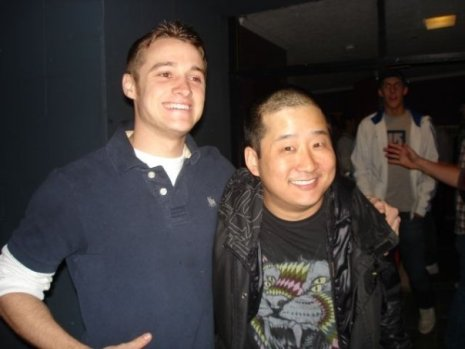 Jacob Curtis and Bobby Lee after the comedy show