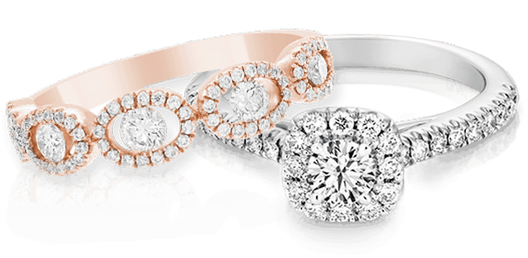 engagement ring and rose gold band