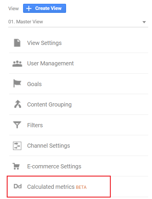 Calculated Metrics findes under View settings.