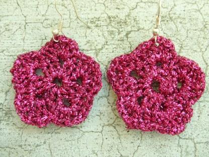 metallic pink flower earrings