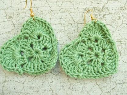 Green crocheted heart earrings