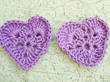 Dark Purple crocheted heart earrings