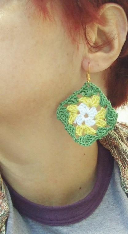 white / yellow / green granny square earrings