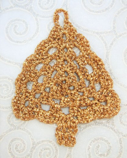 Gold crocheted Christmas Tree decoration