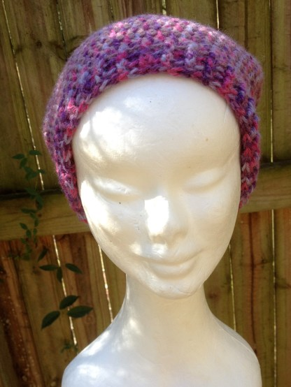 Pink & purple crocheted slouchy beanie
