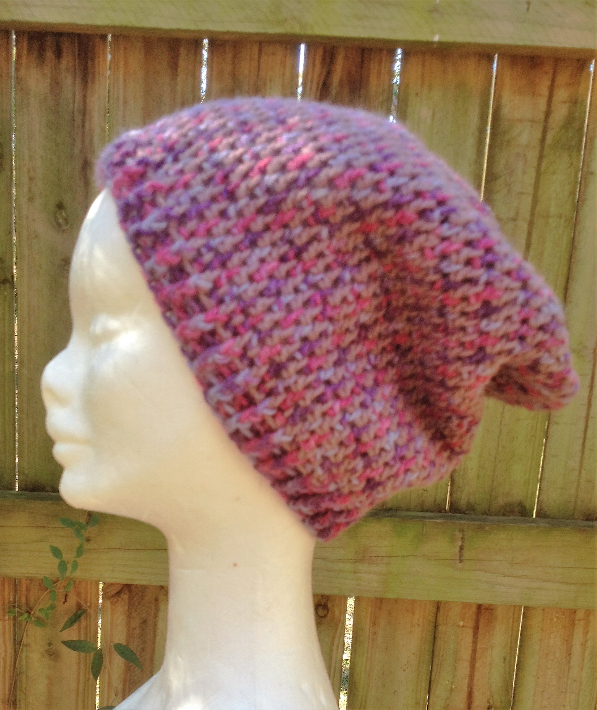 Crocheted Pink And Purple Slouchy Beanie
