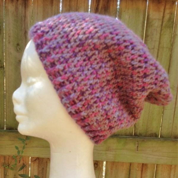 Pink & purple crocheted slouchy beanie