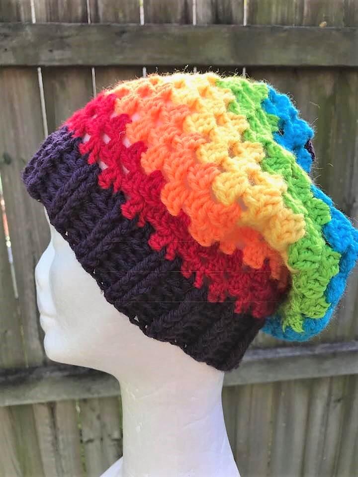 ad8a7fef3 Granny Style Crochet Rainbow Beanie - Jacqstar Creations