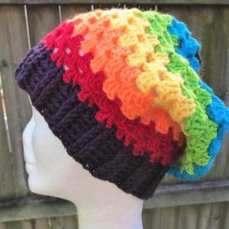 rainbow beanie vegan friendly