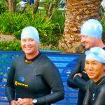 Anna Deshautelle at the start of the swim in the triathlon, La Jolla Cove