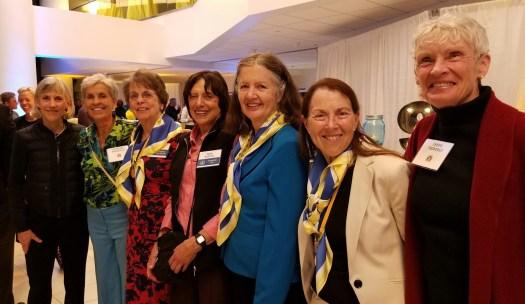 First Ladies: Joan Benoit Samuelson, Eleonora Mendonca, Sara Mae Berman, Nina Kuscsik, Julia Chase, Jacqueline Hansen, Cheryl Bridges (Flanagan, Treworgy).