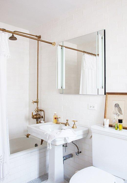 House Envy: Eclectic New York Apartment   lark & linen on Apartment Bathroom  id=71724