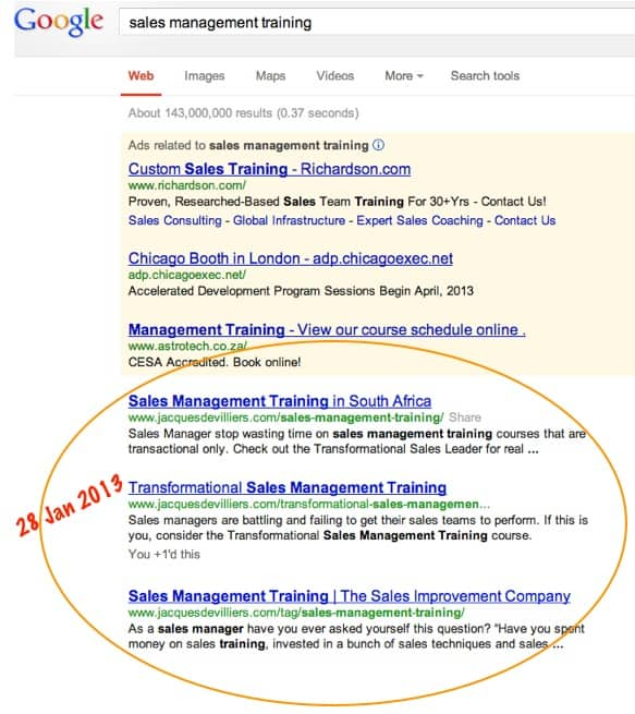 sales management training get's top Google rankings