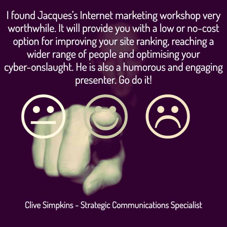 Testimonial for Jacques de Villiers Internet Marketing workshop
